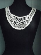 Cream Cotton Black Flower Stoned Neck Piece
