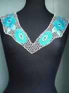 Crochet Neck Piece- White/Turquoise Blue EM187 WHTBL
