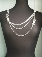 Clear Silver Beaded Chain Neck Showpiece
