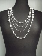 Antique Silver/White Beaded Chain Necklace