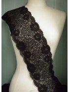Black Flower Swirl Design Wide Lace Trim