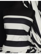 Ponte Double Knit 4 Way Stretch Jersey- Black/Cream Wide Stripe Q994 BKCRM