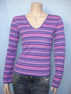 Purple Candy Stripe Ladies V-neck Jumper (CV44)