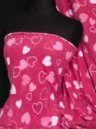 Polar Fleece Anti Pill Washable Soft Fabric- Cerise Pink Heart Q809 CRS