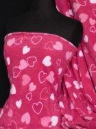Polar Fleece Anti Pill Washable Soft Fabric- Cerise Pink Heart Q809 CRS