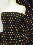 Polar Fleece Anti Pill Washable Soft Fabric- Black/Multi Polka Dots Q863 BKMLT