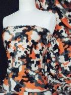 Polar Fleece Anti Pill Washable Soft Fabric- Orange/Grey Camouflage Q1111 ORGR