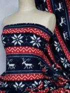 Polar Fleece Anti Pill Washable Soft Fabric- Red/Navy Blue Reindeer Q1116 RDNY
