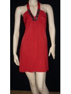 Little Red Embellished Halter-Neck Dress