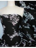 Viscose Cotton Stretch Lycra Fabric- Black/ White Japanese Garden Q1153 BKWHT