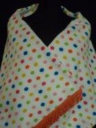 Cream/ Multi-Coloured Polka Dots Polar Fleece Shawl With Tassel Trim