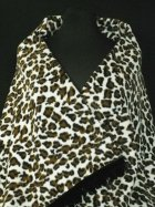 Cream/ Brown Leopard Polar Fleece Shawl With Suede Fringe Trim
