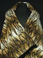 Tiger Print Polar Fleece Shawl With Suede Fringe Trim