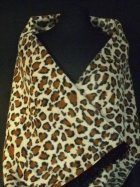 Camel/ Brown Leopard Polar Fleece Shawl With Suede Fringe Trim