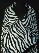 Zebra Print Polar Fleece Shawl With Suede Fringe Trim