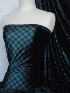Velvet 4 Way Stretch Spandex Fabric- Bottle Green Check Q1181 BKBT