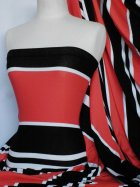 Viscose Cotton Super Stretchy Fabric- Red/Black Horizontal Stripe Q1185 RDBKWH