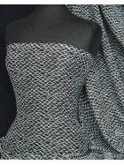 Chiffon Soft Touch Sheer Fabric- Black/White Honey Corn Q1178 BKWHT
