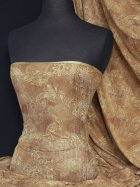 Brown Paisley Sheer Silver Subtle Shimmer Fabric