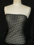 Knitted Crochet Silver Lurex Fabric- Black LUR1 BK