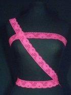 Cerise Pink Floral Lace Trim