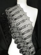 Black Floral Embroidered Mesh Trim
