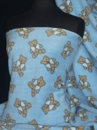 Polar Fleece Anti Pill Washable Soft Fabric- Blue/Brown Teddy Bear Q1220 BLBR