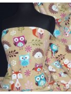 Polar Fleece Anti Pill Washable Soft Fabric- Stone Owl Bird Q1219 STNMLT