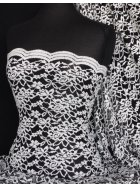 Lace Scalloped Lycra 4 Way Stretch Fabric- Ivory/Black Rose Q1170 IVBK