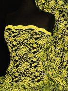 Lace Scalloped Lycra 4 Way Stretch Fabric- Neon Yellow/Black Rose Q1170 NYLBK