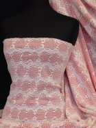 Bonded Lace Two Tone Double Layer Stretch Fabric- Coral Q1162 IVCRL