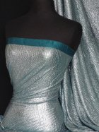 Teal/Silver Bodré Crinkle Metallic Foil Stretch Fabric