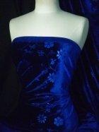 Velvet Spandex Stretch Fabric- Rich Royal Blue Flowers Q1287 RBL