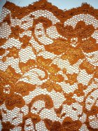 Lace Scalloped Floral Stretch Lycra Fabric- Rust Q615 RST