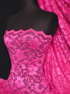 Lace Scalloped Floral Stretch Lycra Fabric- Cerise Q615 CRS