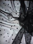 Power Mesh Glitter Polka Dots Material- Black Q1294 BK