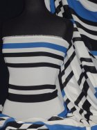 Chiffon Soft Touch Vertical Stripe Fabric- Black White Blue Q1296 BKWHTBL