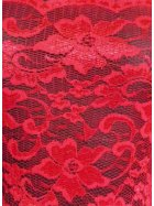 Red Without Scalloped Edge Stretch Lace Lycra Fabric