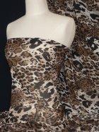 Chiffon Silk Touch Sheer Fabric- Brown Big Leopard Q570 BR