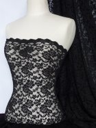 Lace Rose Design Scalloped 4 Way Stretch Fabric- Black Q723 BK