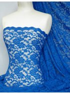 Lace Rose Design Scalloped 4 Way Stretch Fabric- Royal Blue Q723 RBL