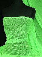 Fishnet / Net Stretch Fabric Material- Neon Lime Green Q1335 NLGRN