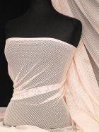 Fishnet / Net Stretch Fabric Material- Pastel Peach Q1335 Q1335 PPCH