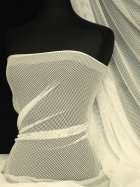 Fishnet / Net Stretch Fabric Material- Cream Q1335 CRM