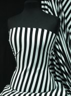 100% Cotton Interlock Knit Soft Jersey T-Shirt Fabric- Black/White Horizontal Stripe Q1338 BKWH