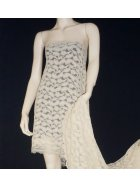 Corded Lace Scalloped 4 Way Stretch Lycra Fabric- Stone Q1349 STN