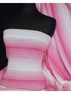 100% Cotton Interlock Knit Soft Jersey T-Shirt Fabric- Pink/ White Horizontal Stripe Q1358 PNWH