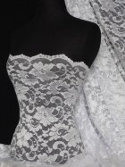 Lace Scalloped Floral Stretch Lycra Fabric- Ivory Q615 IV