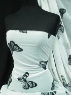 Chiffon Soft Touch Sheer Fabric - Ivory/ Black Butterfly Q1366 IVBK