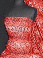 Silk Touch 4 Way Stretch Fabric- Red Tiger Print Sequin SQ36 RD